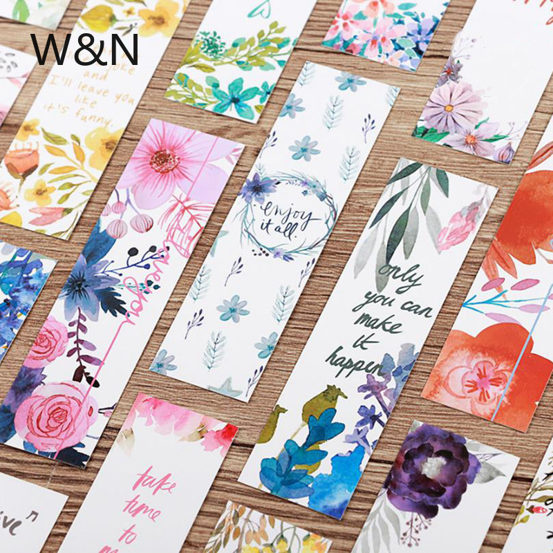 30pcs/lot Beautiful Flowers Green Plants Kawaii Bookmark Paper Book Markers Marque Page Cute Stationery Office School Supplies