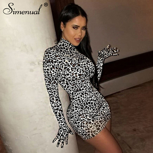 Simenual Leopard Sexy Hot Women Party Dress With Gloves Long Sleeve Skinny Clubwear Fashion Bodycon Mini Dresses Autumn Slim(China)