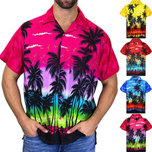 Male Hawaiian Shirts Fashion Men's Casual Button Coconut Tree Print Beach Short Sleeve Top Blouse Vacation Clothes M-3XL цена 2017