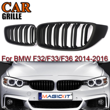 MagicKit Double Lines Matte Black Front Grill Kidney Grille Fit for BMW 4 Series F32 Coupe F33 F36 Cabrio F82 M4 Coupe 2013-2017 электромобили hebei bmw 2 series coupe