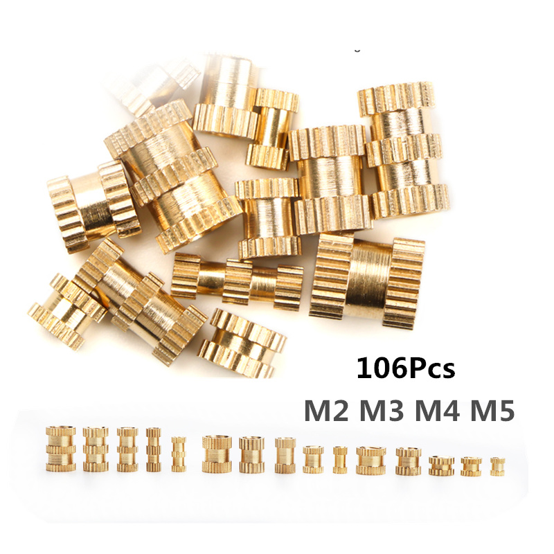 106Pcs M2 M3 M4 M5 Female Thread Knurled Brass Threaded Insert Embedment Nut For 3D Printing Threaded Heat Set Inserts