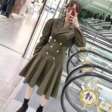 Ранняя осень новое модное двубортное тонкое платье с длинными