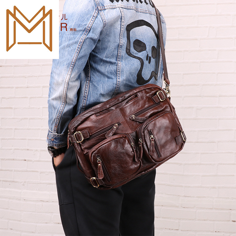 Genuine Leather Male Package Man Briefcase Leisure Time More Function Both Shoulders Male Package Handbag