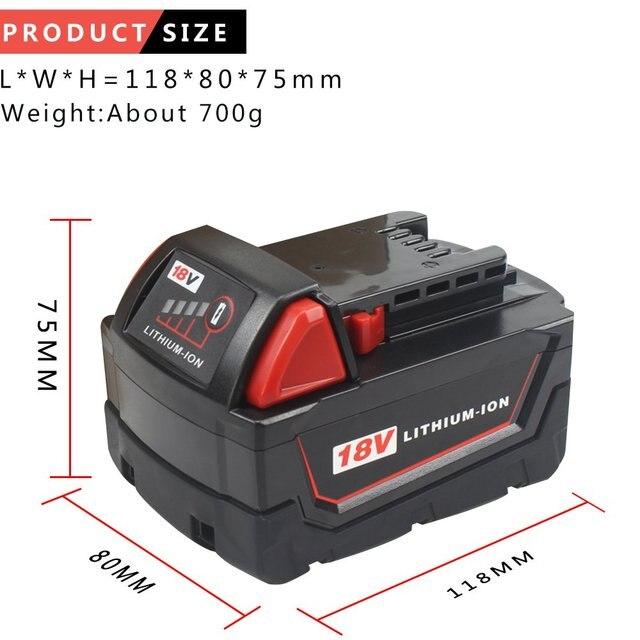 Batería de litio de repuesto Waitley 18V 5.0Ah para Milwaukee M18, batería de ion de 18 v