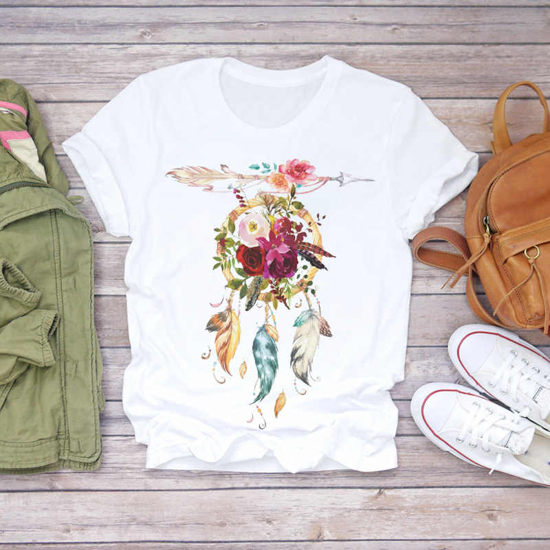 Womens Tshirts Short Sleeve Graphic Loose Fit Feather Pattern Print Pullover Crewneck Shirts Tops Summer Casual Blouse Tee