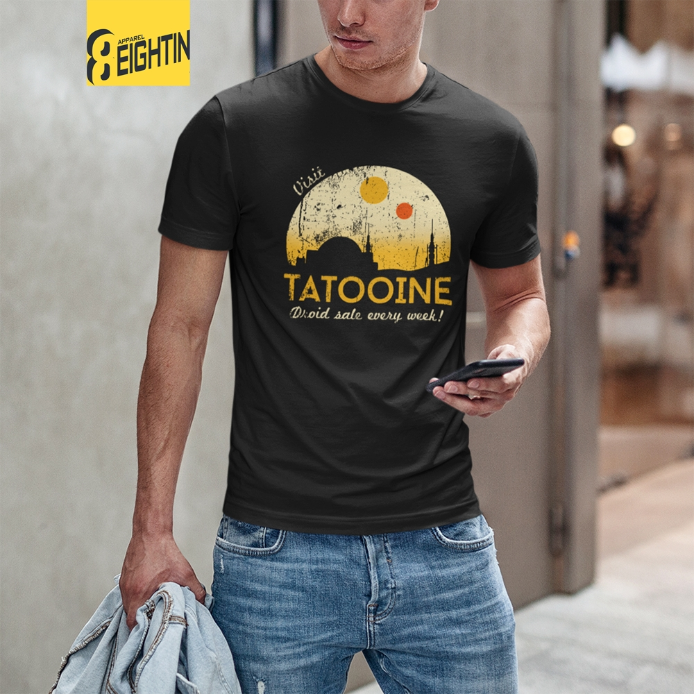 Visit Tatooine Star Wars T-Shirt Crew Neck Pure Cotton Men's Short Sleeve Tee Shirt Vintage Style Simple Plus Size T Shirts