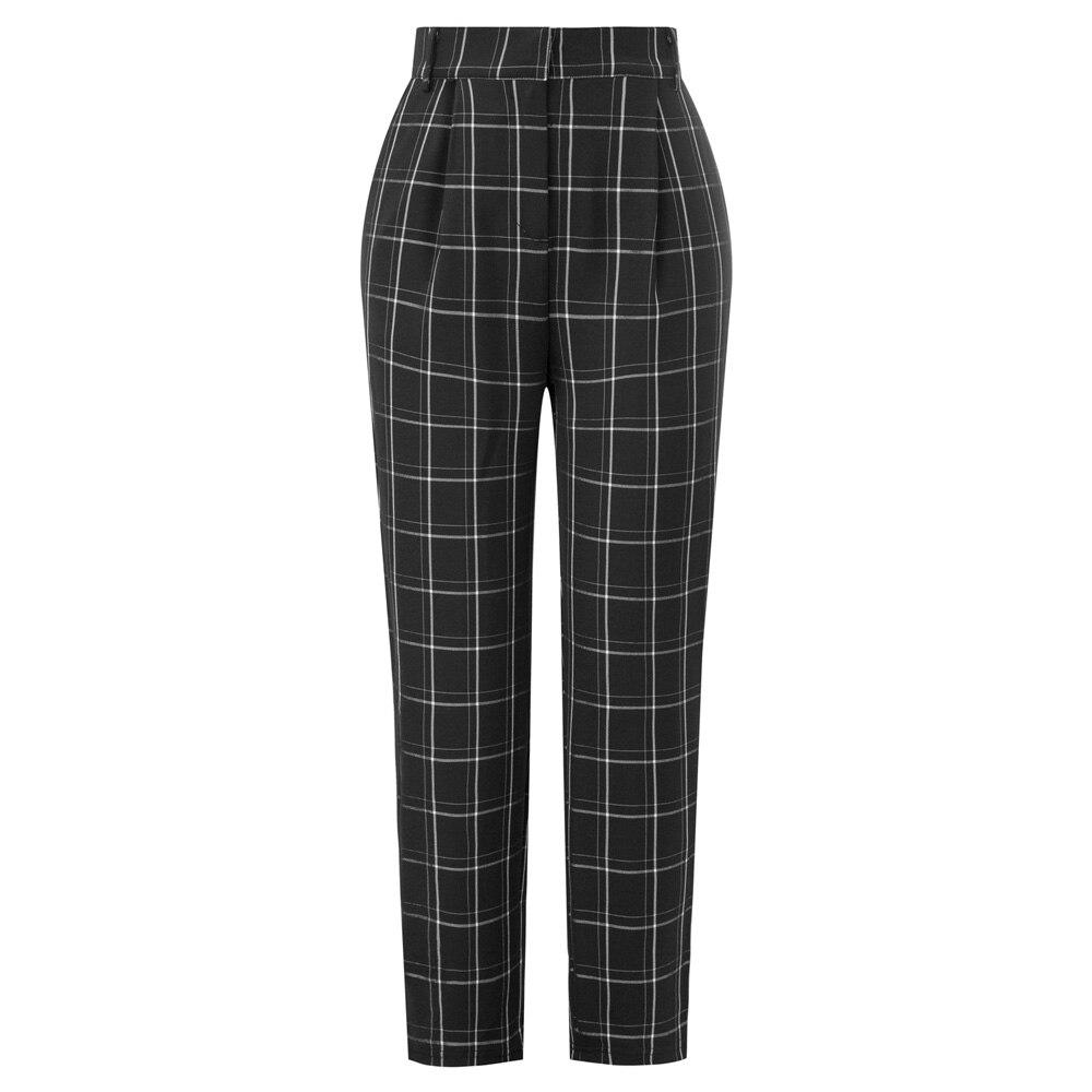 Women pencil trousers lady work office business Ankle Length Skinny   Pants     Capri   Pockets Plaided OL Elastic Waist   pants   female