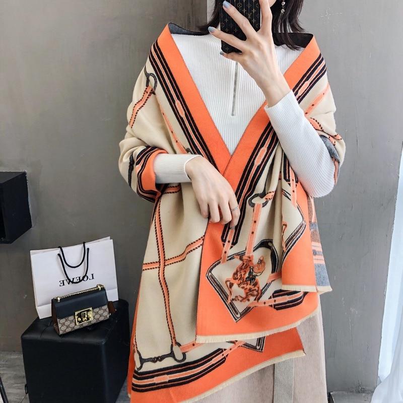Women Cashmere Winter Scarf Pashmina Shawls Lady Wraps Chain Luxury Print Scarves Warm Thick Wool Bufanda 2019 Design