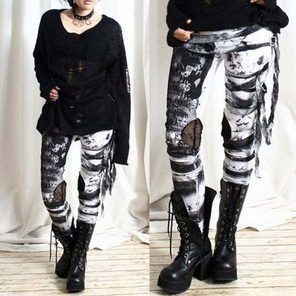 Women's Cool Ultra Gathered Pants Gothic Rocker Distressed Punk Tie Leggings Breathable High Waist Sport Femme Workout Legging