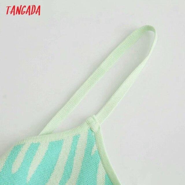 Tangada Women's Summer Dress Zebra Knit Midi Dress Strap Backless Bow 2021 Fashion Lady Dresses 3H764 3
