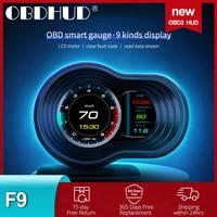 OBDHUD-pantalla de visualización automática para coche, odómetro Digital inteligente OBD2, alarma de seguridad, prueba de frenos RPM, temperatura de agua y aceite