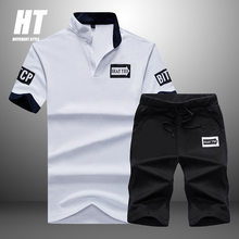 2021 New Tracksuit Men Sets Summer 2 Pieces Sportswear Set+ Gym Fitness Sport Shorts Casual Letter Printing Polo Sweat Suit 4XL