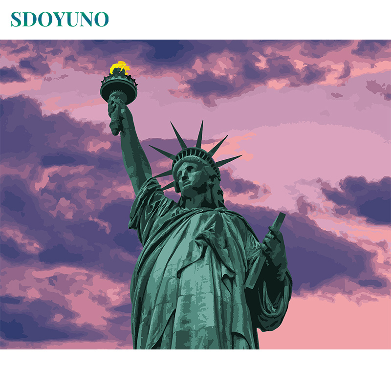 SDOYUNO 60x75cm Painting By Numbers For Adults Statue Of Liberty DIY Picture By Numbers On Canvas Frameless Home Decor