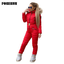 Hooded Jumpsuit Overalls Forerun-One-Piece Winter Women Padded Zipper Fur Cotton Sashes