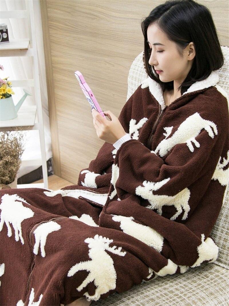 MMultifunction цельная подстилка для сна шаль плащ с рукавом утепленное теплое одеяло домашняя одежда женская зимняя Фланелевая пижама f2058 - 2