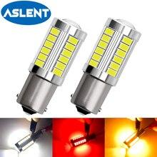 2 шт. P21W светодиодный 1156 BA15S PY21W BAU15S 1157 BAY15D P21/5 Вт 33SMD лампы T20 7443 W21/5 Вт светодиодные лампы для автомобилей сигнала поворота светильник, желтый, ...