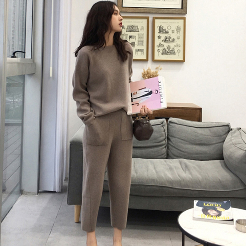 Women Cashmere Sweater Two Piece Suit Knitted Sets 2019 Autumn Fashion Sport Suits Female Spring Slim Office Lady Suit