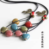 Vintage Ethnic Style Long Sweater Chain Personality Fashion Girl Women Bell Leaves Ceramic Pendant Necklace Jewelry Accessories