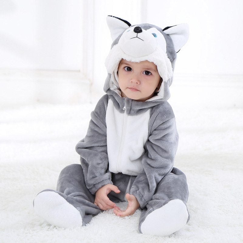 Kigurumis Baby Clothes Animal Grey Dog Romper Onesie Infant Baby Clothing Onepiece Rompers Newborn Playsuit Jumpsuit Clothing
