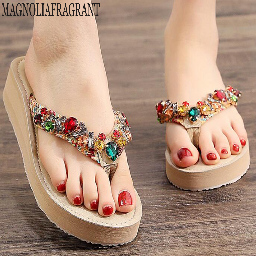 2020 Summer Fashion Rhinestones Wedges Flip Flops Women's Casual Beach Shoes Ladies Non-slip Platform Zapatos De Mujer hy341