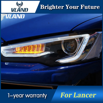 LED Smoked Car Front Head Lights For MITSUBISHI Lancer EVO 2009-2016 Headlights LED Lens Head Lamp Bi-projector
