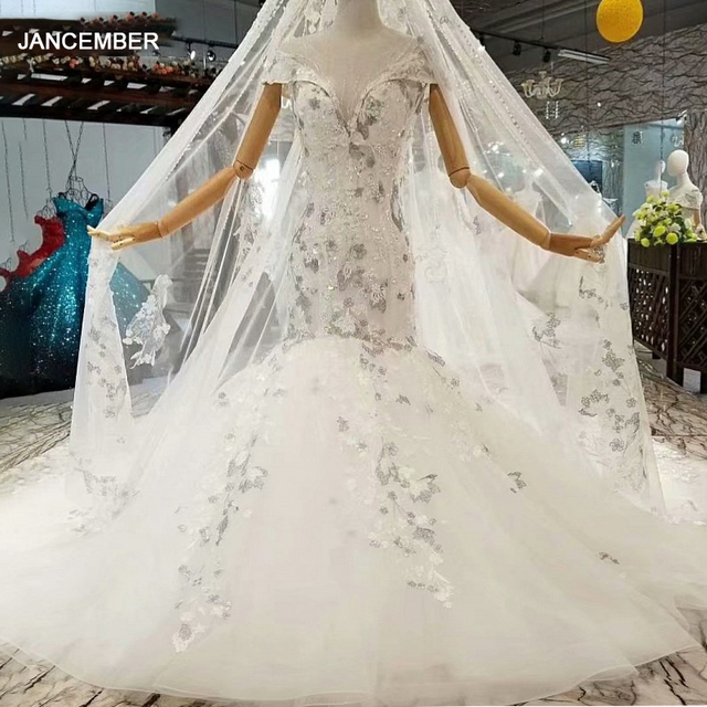 LS087841 elegant mermaid wedding gown with long lace veil o neck cap sleeves trumpet among 2020 abito da sposa a sirena