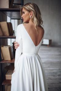 Image 2 - 2019 Bohemian Wedding Dress Long Sleeves High Low Bridal Gowns Backless Elegant Vestido De Noiva Lorie Wedding Gowns For Women