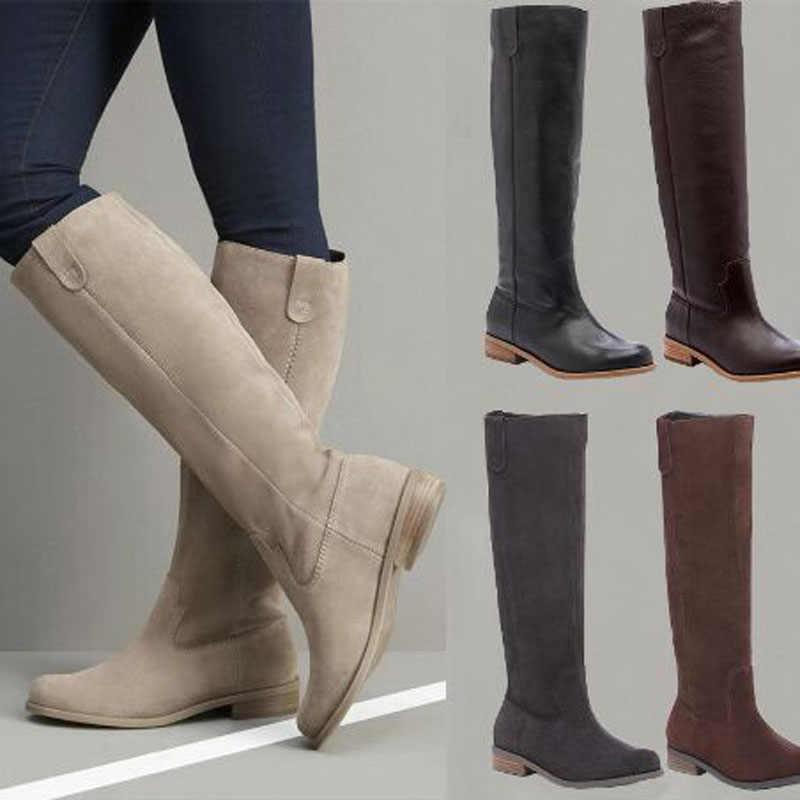 2019 botas planas altas De Mujer botas De gamuza De cuero PU botas con acabado mate deslizantes en Zapatos De Mujer Zapatos De invierno sólidos