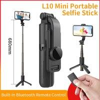 Mini Selfie Stick portatile L10 con treppiede monopiede per iPhone 12 Pro Max adatto per smartphone Huawei Xiaomi Gimbal