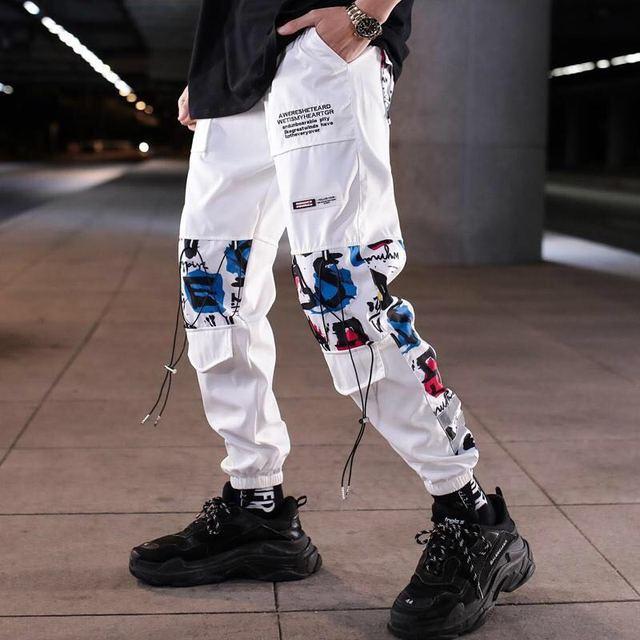 Color Block Pocket Patchwork Cargo Joggers Men Graffiti Hip Hop Letter Print Harem Pants Mens Casual Dance Trousers Sweatpants 6