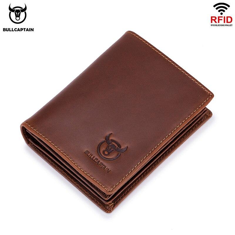 BULLCAPTAIN new RFID mens leather wallet short vertical locomotive British leisure multi function card package leather walletleather wallet pursewallet pursebusiness purses -