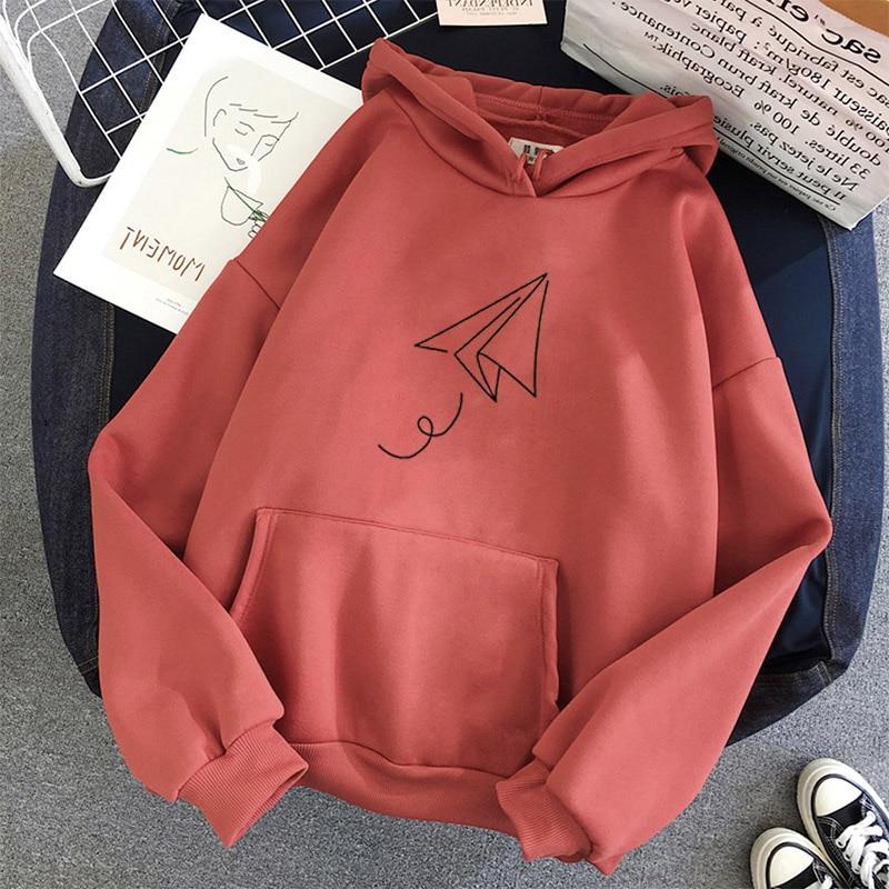 Paper Airplane Print Hoodies Women Oversized Pullovers Harajuku Autumn Winter Hoodied Femal Loose Casual Streetwear Sweatshirt 8