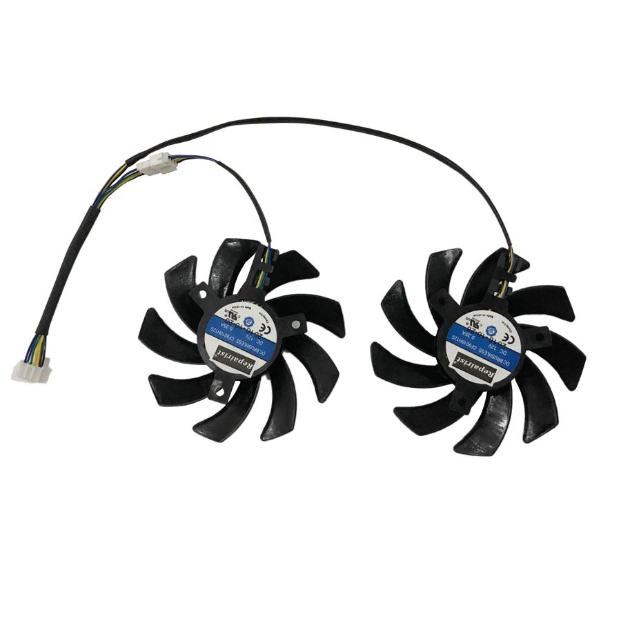 Купить с кэшбэком 2pcs/lot Computer VGA Cooler Heatsink graphics card Cooling Fan as Replacement For XFX R9 280X 290X Video Card