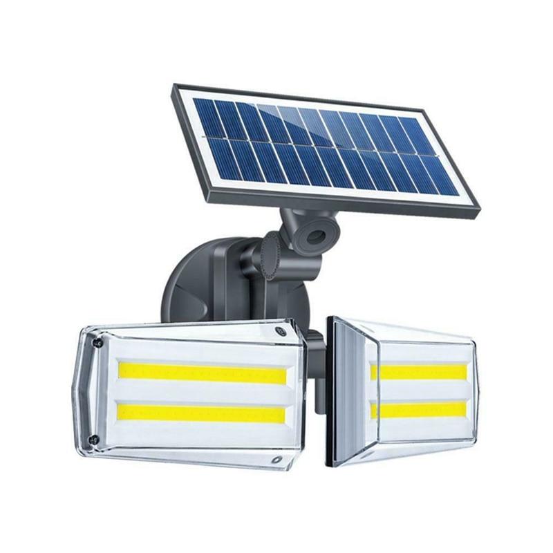12w solar wall light 12w ajustavel dupla cabeca cob levou ao ar livre paisagem lampada de