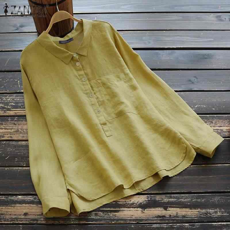 Zanzea blusa feminina blusas senhora do escritório camisas sólidas botões casuais blusas lapela pescoço túnica topos de algodão chemiser mujer plus size