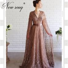 Dubai Beaded Evening Dresses Islamic Turkish Custom Made Long Sleeve Party Gown Arabic Prom Dresses Robe De Soiree 2020 Crystal