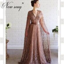 Robe De Soiree ยาว Rose PUFFY ชุดราตรีงานแต่งงานอย่างเป็นทางการดูไบ PARTY Gowns 2020 ตะวันออกกลาง Sequins ประกวด Gowns ดูไบ