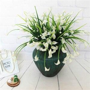 Image 3 - 23 Con/1 Lô Bó Hoa Mini Nhân Tạo Calla Với Lá Lụa Giả Lily Thực Vật Thủy Sinh Nhà Trang Trí Phòng Hoa hoa Giả