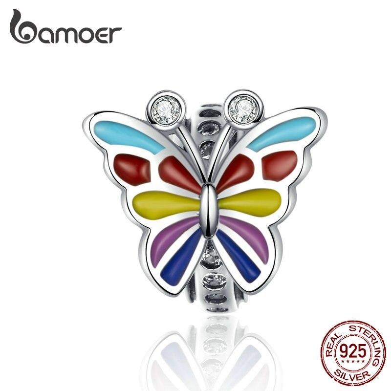 BAMOER Colorful Butterfly Charms 925 Sterling Silver Enamel Charm For Women Luxury Brand Snake 3mm Bracelet Fine Jewelry SCC1195