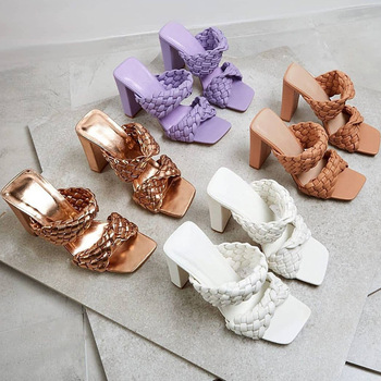 Leather Braided High Heel Sandals Women Runway Party Shoes Woman Cross Wove Folds Mules Shoes Sexy Thin Heel Slippers Woman