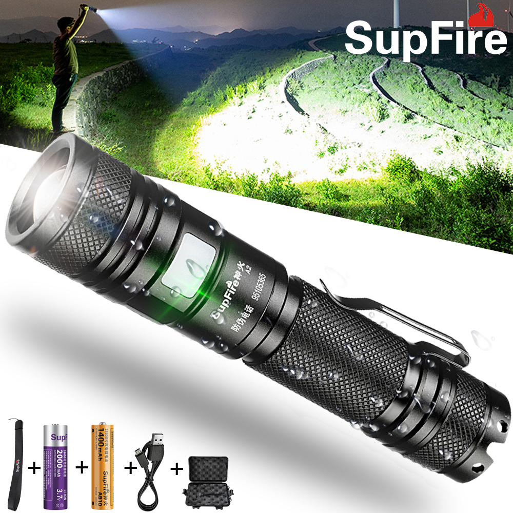 SupFire A5 Zoom Flashlight Tactical Cree LED Powerful Torch USB Rechargeable
