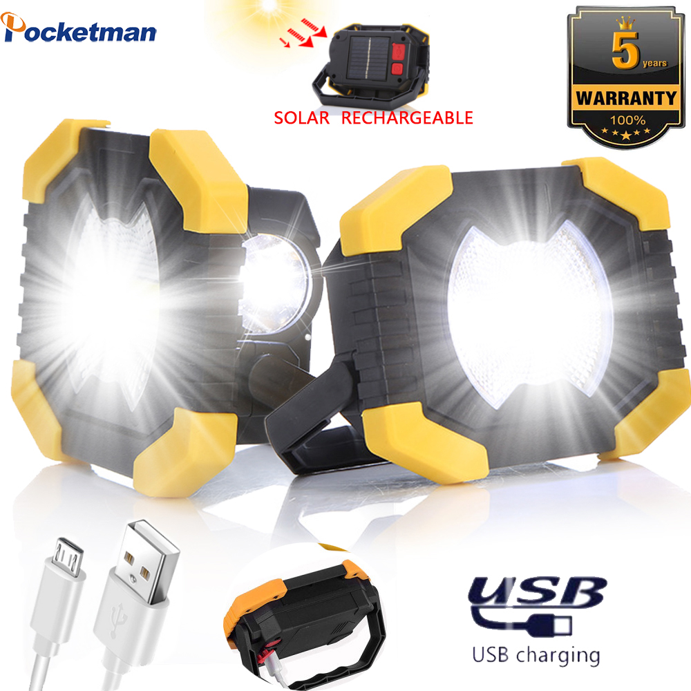 100W Solar Energy Spotlight Work Light 180 Degrees Adjustable  Portable COB Lamp Built-in Battery USB Rechargeable  For Camping