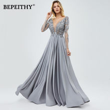 BEPEITHY A-Line uzun kollu akşam resmi elbise 2020 kadınlar için seksi Backless dantel boncuk gri balo elbisesi Custom Made