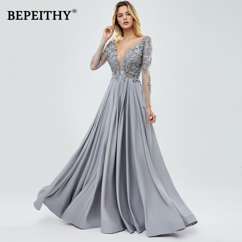 BEPEITHY New V Neck Womens Long Sleeves Evening Formal Dress 2020 Robe De Soiree Sexy Open Back Lace Top Prom Gown