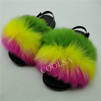 COOLSA Girls Fur Slides Summer Kids Multi-color Slippers Lovely Toddler Children Flat Shoes Drop Shipping