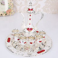 Retro Palace Classic Plate Tray Wine Coffee Pot Cups Set Wedding Gift Home Interior Party Decor Ornament