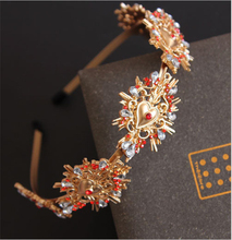Exaggerated Headband Colored Gemstone Palace Baroque Hair Accessories for Crystal Diamond Flower Shape Headwear
