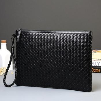 Men Leather Business Handbag 2020 New Fashion Male Black Envelope Bag Casual Weave Briefcase