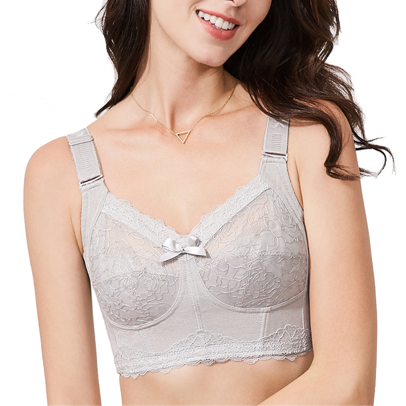 Womens Minimizer Bra Full Coverage Wireless Bra Non-padded Lace Floral Embroidery Ultra-thin Unlined Bra Longerie for Woman 42 E 4