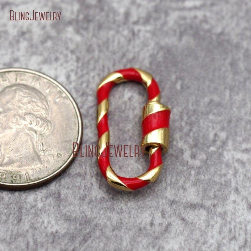 Карабинный замок с эмалью из стерлингового серебра 14 к с золотым покрытием, овальная застежка с винтовой застежкой, фурнитура белого, розового, красного цветов, бирюза FC28687 - Цвет: FC28662